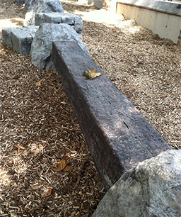 """Rock Balance Beam   Dimension: (96"""" x 24"""" x 30"""") Age Group: 2 to 12 Weight: 95 lbs. Color:  Slate Grey, Earth Brown and Coastal.   The Rock Balance Beam is sure to excite while promoting coordination and motor skills. By utilizing two sturdy rocks linked with our composite railroad tie we have created a product unique in its own. By burying the rock ends under grade or directly on surface, you are able to adjust the balance beam height from 8"""" to 18"""" off the ground. Use this product as a stand along feature, zigzag 2 or more to create an extended experience or incorporate with other products and accessories to create your own obstacle course!"""