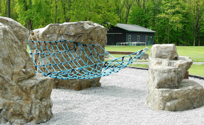 Climbing Nets   Dimension: Customizable Age Group: 5 and Up Weight: N/A Color: Black, Yellow, Red, Blue and Green.  Want to tie together a group of Boulders or create an agility course? We have the answer! Climbing Nets being installed in both vertical and horizontal positions have endless possibilities when combined with many of Evolve Play products. Due to the possibilities, Climbing Nets are based on each client's individual needs.