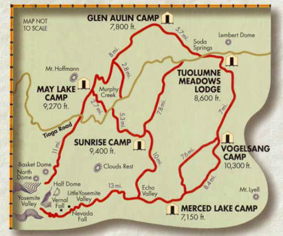 Map of High Sierras @ YOSEMITE NATIONAL PARK
