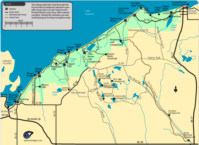MAP OF PICTURED ROCKS NATIONAL SEASHORE - TRail