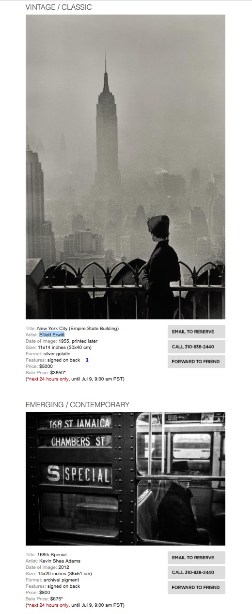 Prints at Duncan Miller Gallery - In lovely company with Elliot Erwitt's evocative shot of NYC, my piece