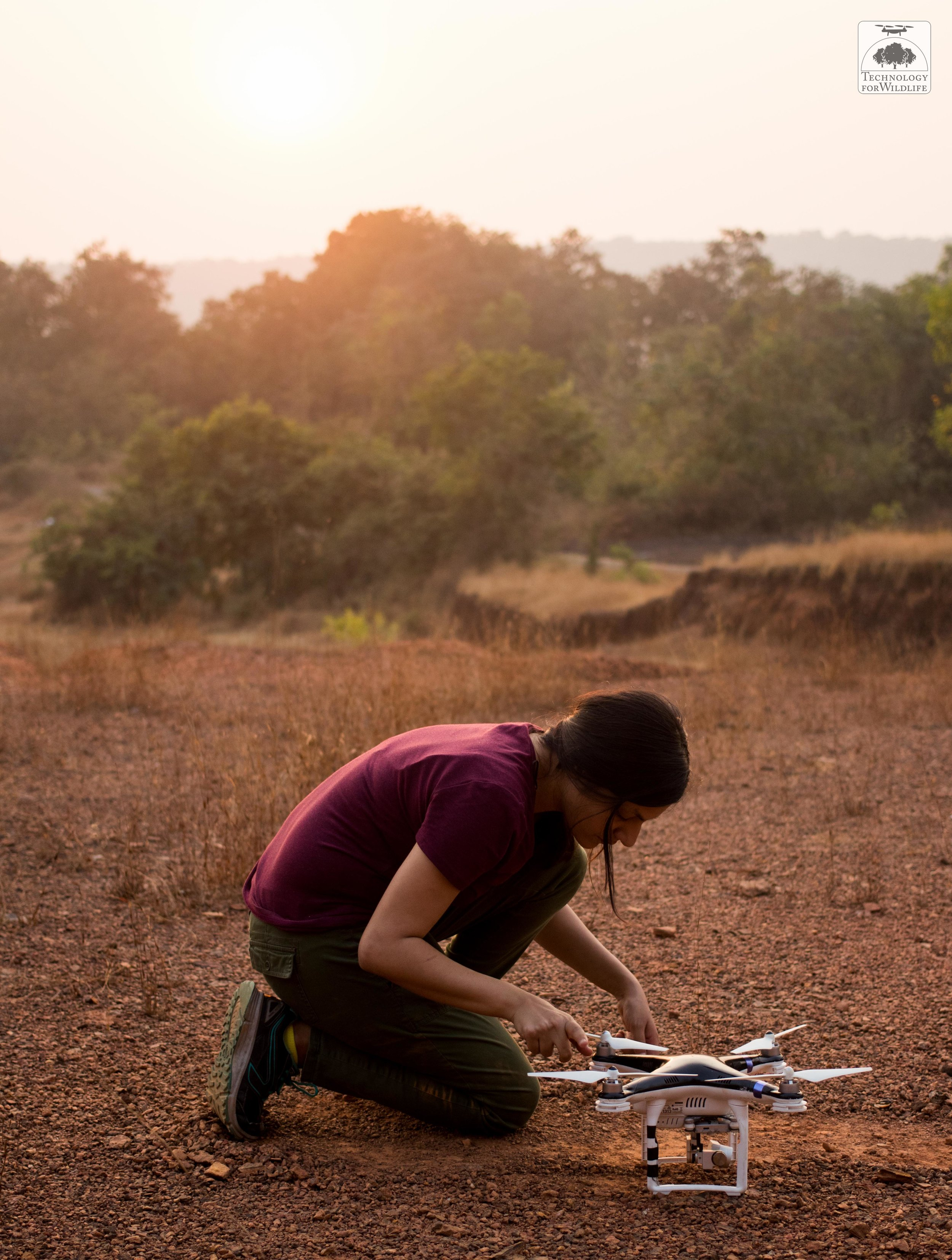 The author preparing a drone for flight