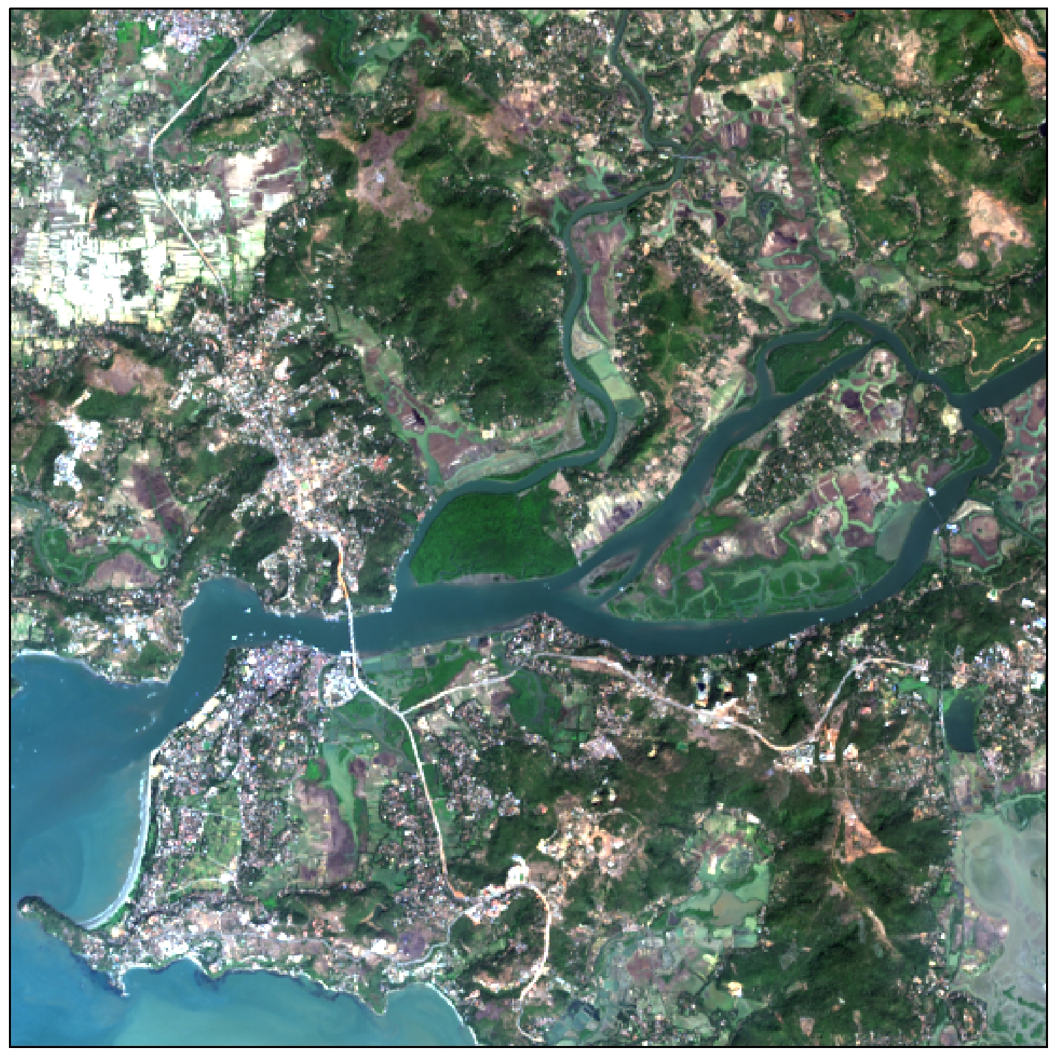 A true-colour composite image created using data from Landsat 8 bands 2, 3 and 4.