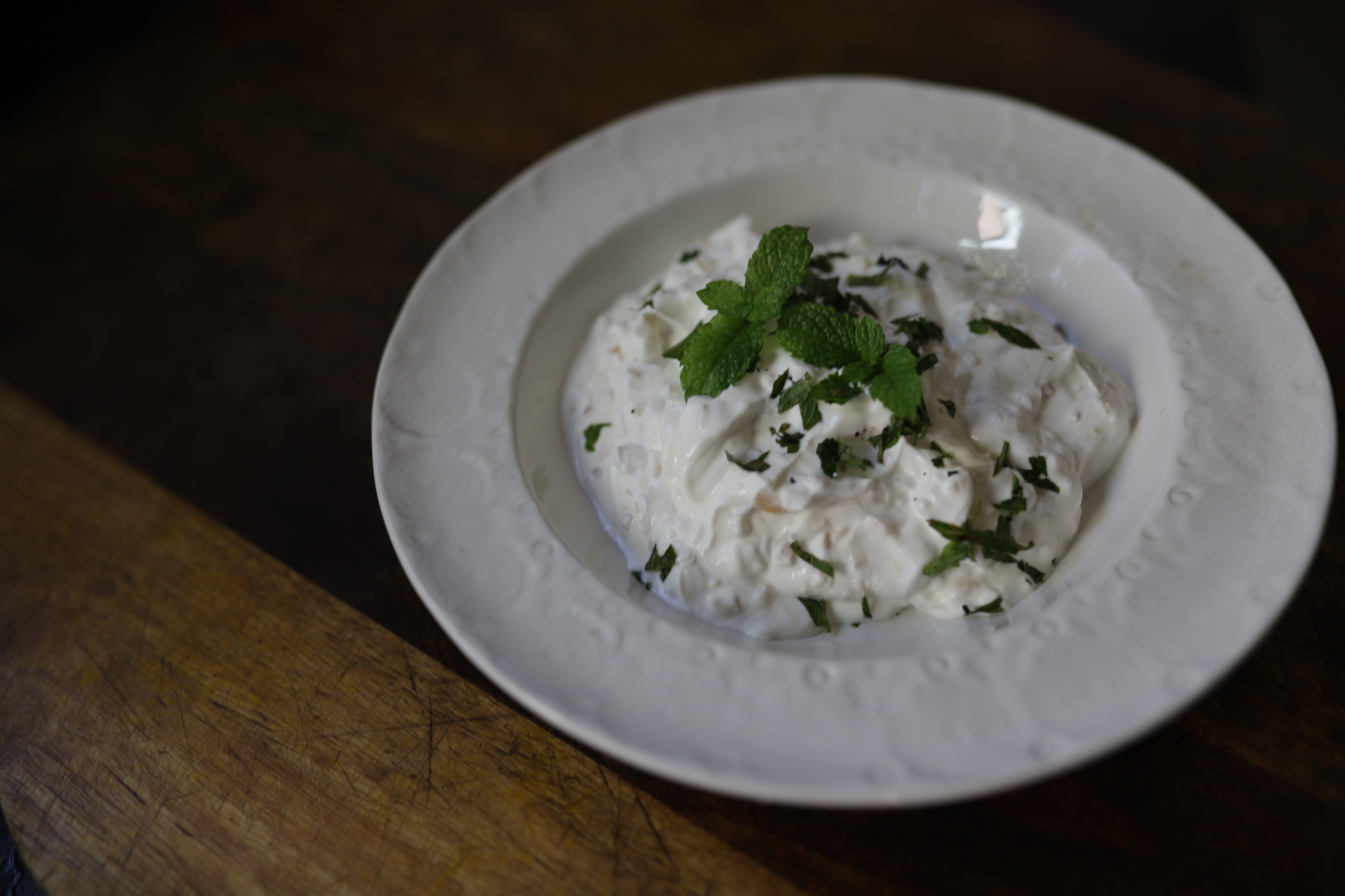 This yogurt dish can be eaten as a dip with nice warm lavash flatbread or veggies, and is especially good alongside barbecued chicken or a rich stew.