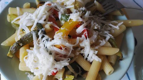 Pasta con verdure estive - Per porzione:Peperone rosso o giallo, 1, 31kcalZucchine, 400g, 64kcalOlio EVO, 1 cucchiaio, 119kcalCacioricotta, 30g, 88 kcalaglio 1 spicchio, menta 2 foglieTot 658 kcalDivisione Calorie:Carboidrati (54%)Grassi (30%)Proteine (16%)