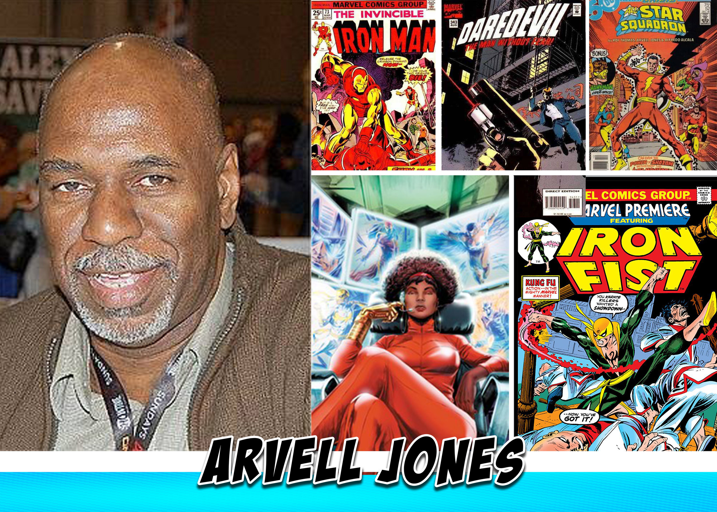 Arvell Jones - Arvell Malcolm Jones has been drawing comics for a long time, his earliest work appears in Marvel Comics' Marvel Premiere #20-22 (Jan.-May 1975), drawing the martial arts superhero Iron Fist he also co-created the character MISTY KNIGHT, along with Tony Isabella for the Iron Fist series. He's drawn for Marvel such titles as, Deathlok, Thor, Iron Man, Luke Cage, Avengers, Daredevil, Captain America, Daredevil and more. Jones began worked for DC Comics on a short 10 page stories for DC Specials and Giant Books of Legion of Super Heroes before getting his own series Super-Team Family 1976-77 which the majority of issues were reprinted as the Countdown Special in mid 2000's, he also worked on All-Star Squadron in the mid-1980s, penciling the majority of the issues released between 1985 - 1987 starting with issue #37 while working at a local Detroit TV Station designing news graphics, animation and promotions. He returned to comics to Draw fill-in issues of Blood Syndicate, Hardware, before co-creating and drawing the first 6 issues of Kobalt for Milestone Media Inc