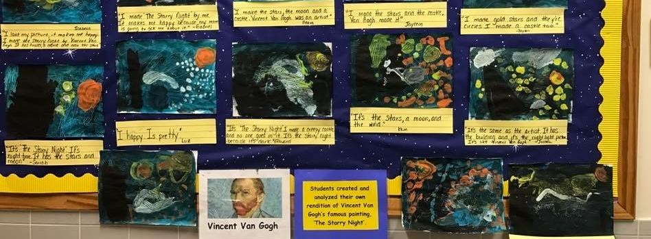 Student artwork in the style of Vincent van Gogh's Starry Night.