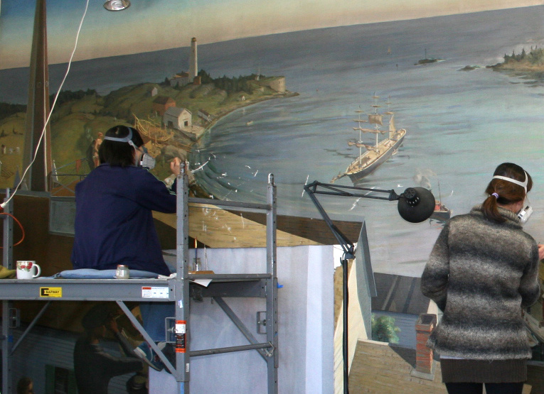 Photo:  Boston Harbor mural during treatment at Parma Laboratory