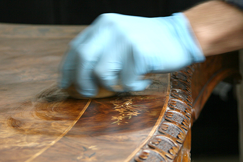 Photo:  French polishing in progress