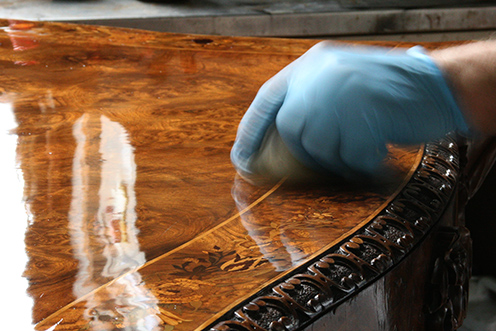 Photo:  French polishing revealing high luster and depth of wood color
