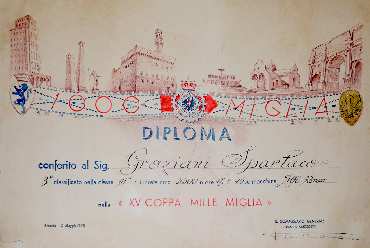 Original hand-lettered Diploma from the 1948 Mille Miglia. Graziani finished 3rd in class and 22nd overall with a time of 17 hours, 8 minutes, 46 seconds. Photo courtesy of David Cooper.