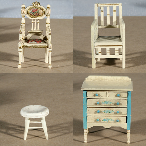 Photo:  Selected furniture pieces before and after restoration