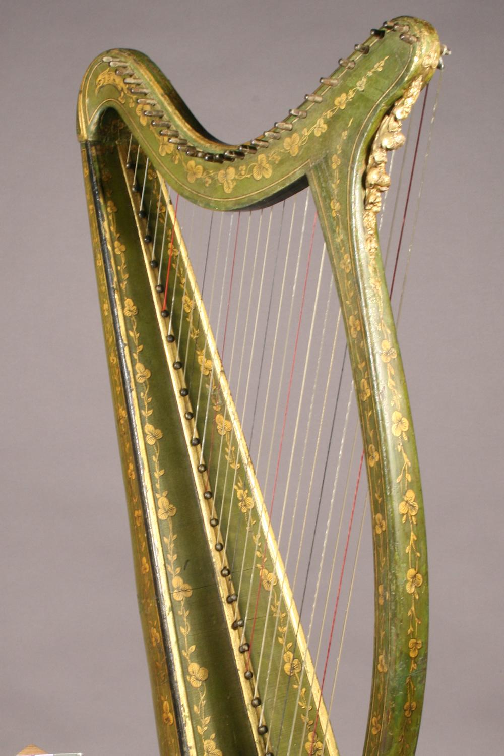Historic Irish harp with polychrome details