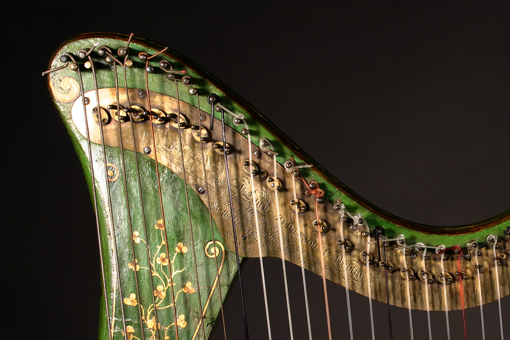 "Egan harp  with an original brass action plate with the engraving – ""J. Egan 30 Dawson St. Dublin"
