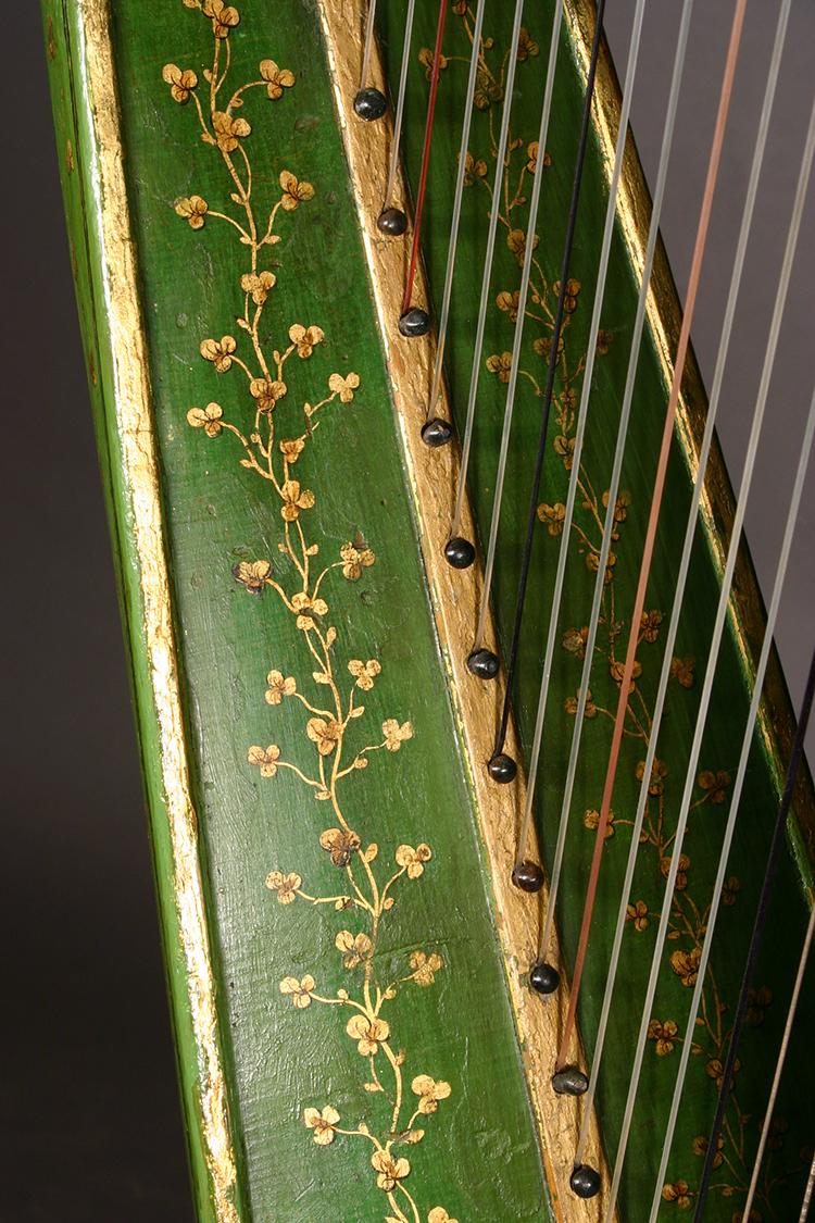 Historic John Egan harp gilded shamrock pattern detail