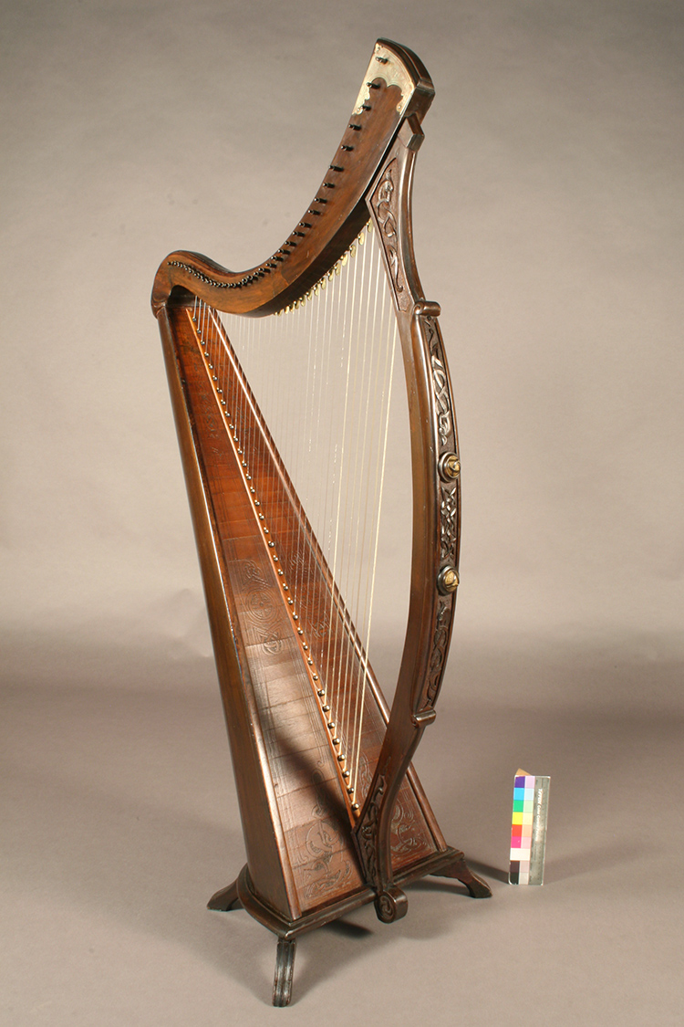 James McFall harp with wood-carved and engraved Irish decorative patterns