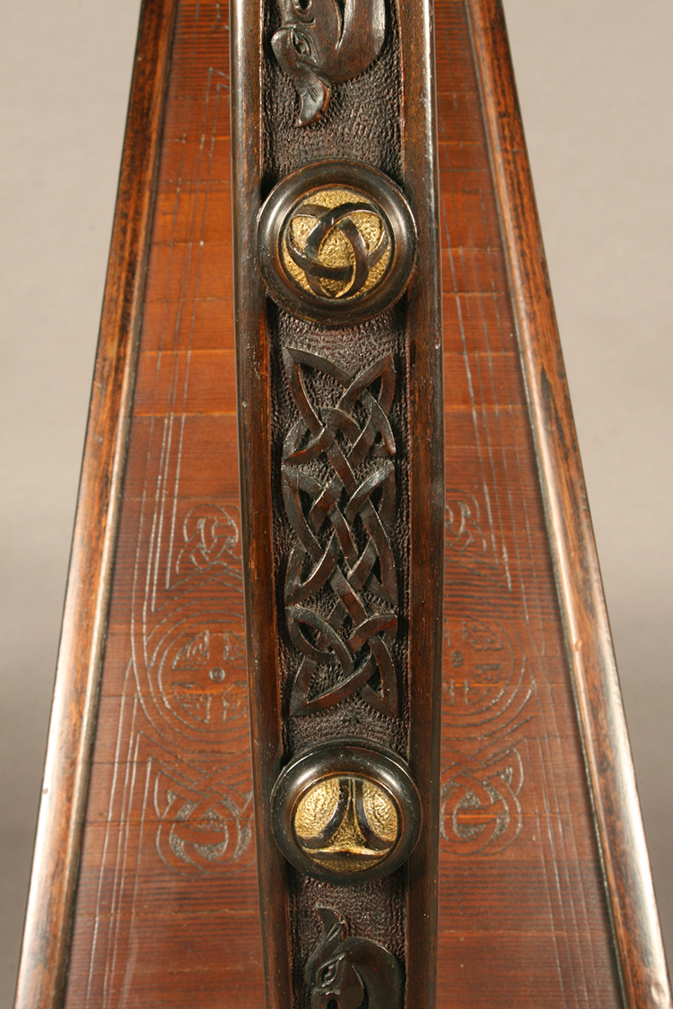 James McFall harp with wood-carved and engraved Irish decorative patterns - detail of intricate Irish style carvings