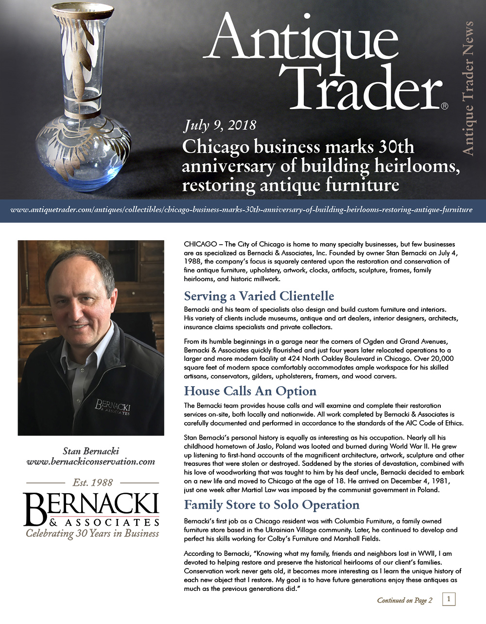 Bernacki & Associates, Inc. featured in  Antique Trader : Chicago business marks 30th anniversary of building heirlooms, restoring antique furniture