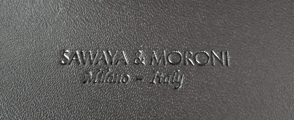 Sawaya & Moroni blind impression on the underside of the upholstered seat