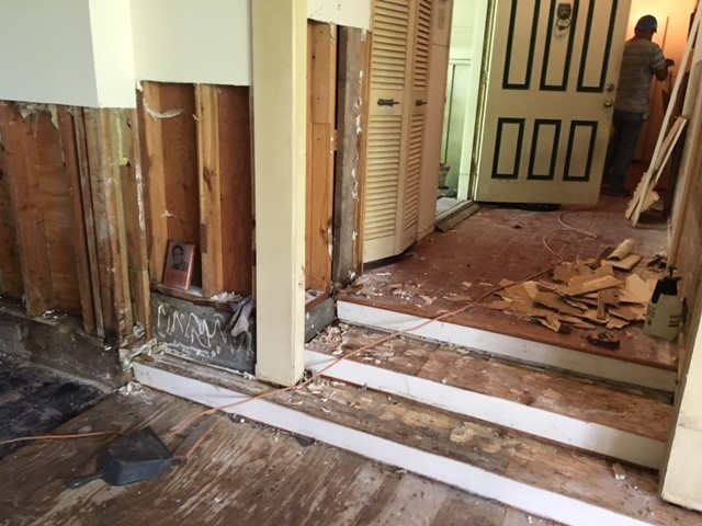 Our contractor had begun to demo the walls and remove the floors…