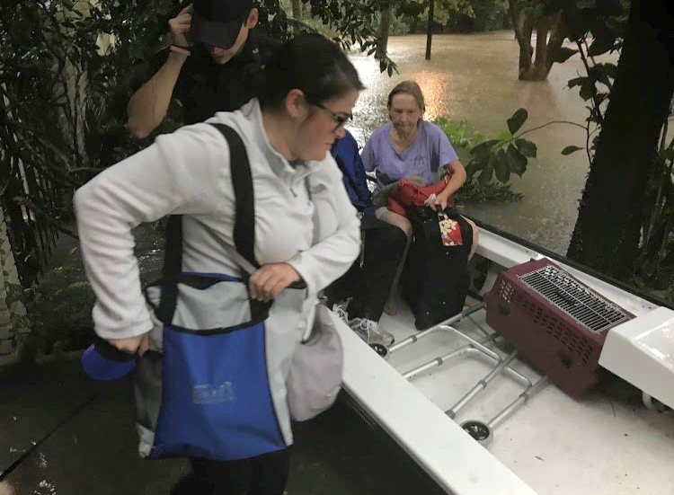 Evacuation during Texas flooding after Hurricane Harvey