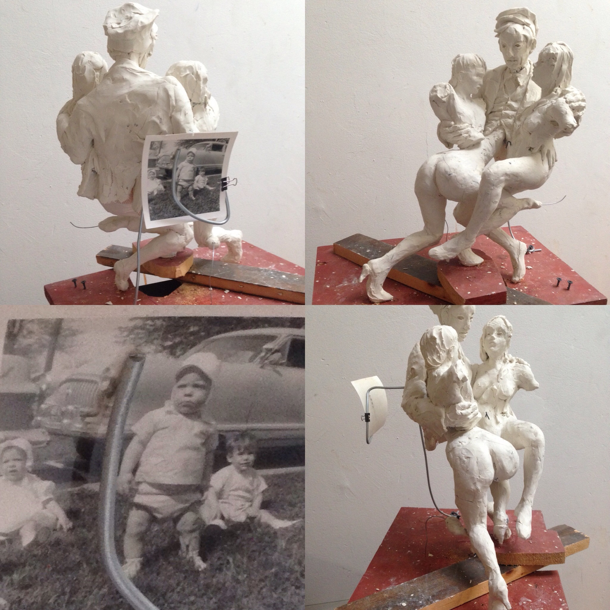 Dance as they were as they are, 2018, reinforced polymer clay with childhood photo