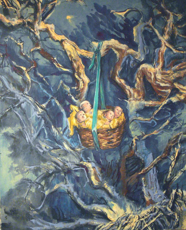 2007 Rock-a-bye womb woods, 48 x 36, qouache