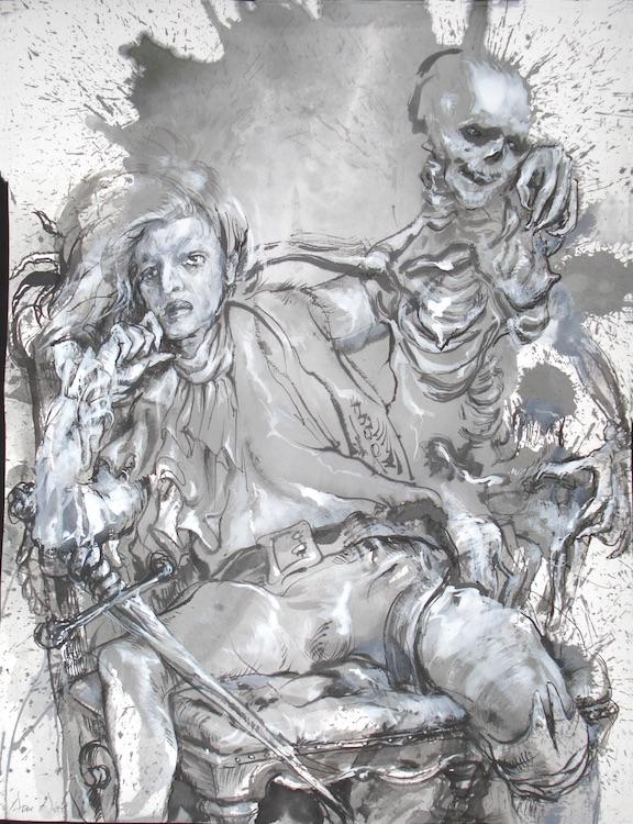 """Pulse   2012 40 x 30"""" graphite wash"""