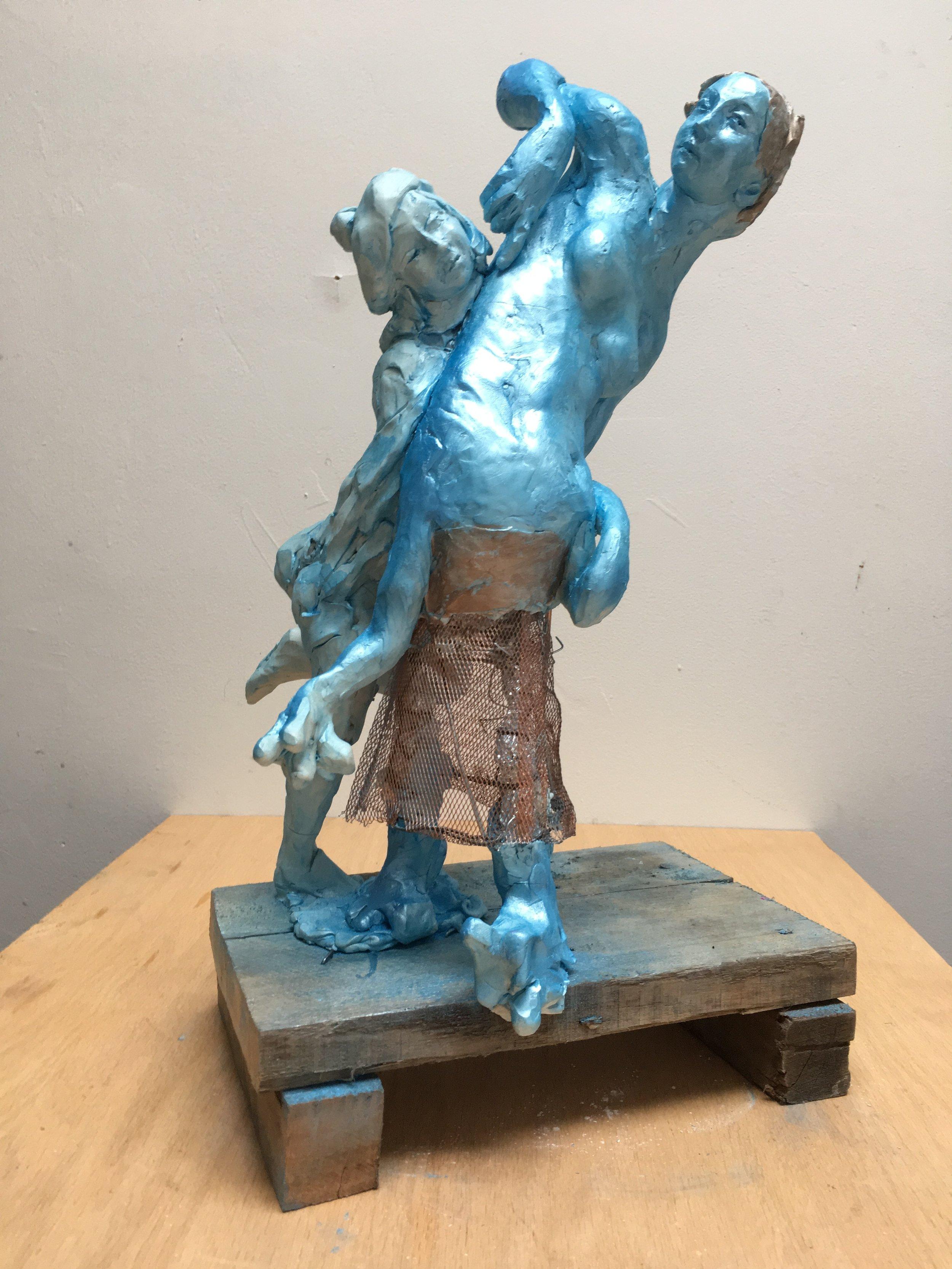 Venus and Venum, 2018 pigment, mica, reinforced polumer clay, copper, steel, on wood plinth