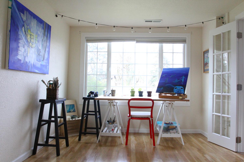 Inside my recently rearranged studio in Eugene, Oregon.