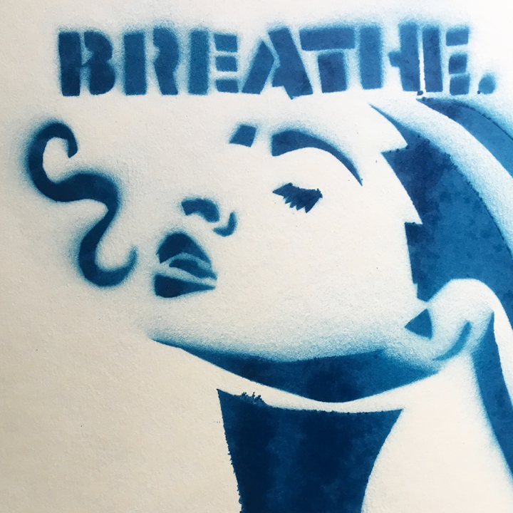Breathe , Spray Paint on Paper. Stencil by Katie Schuessler.