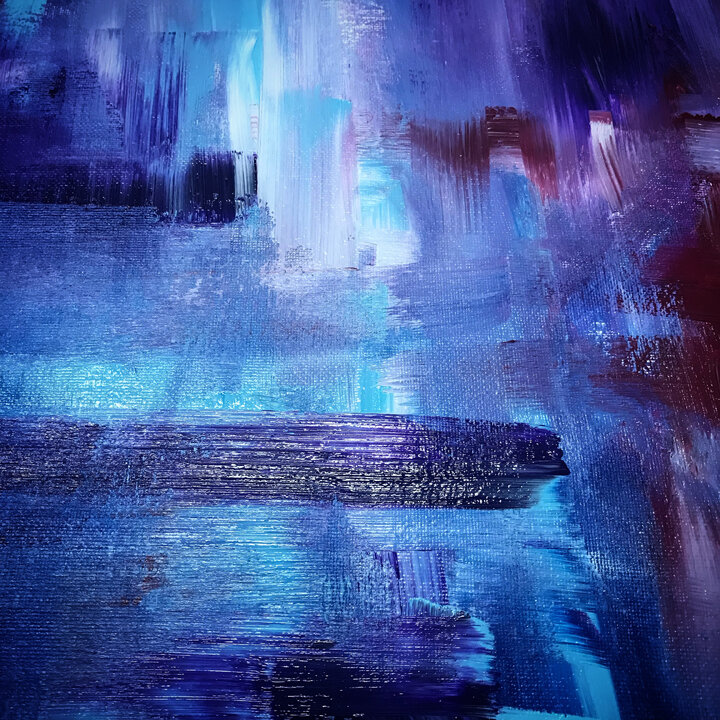 Detail of an abstract painting by Katie Schuessler. Acrylic on canvas board.
