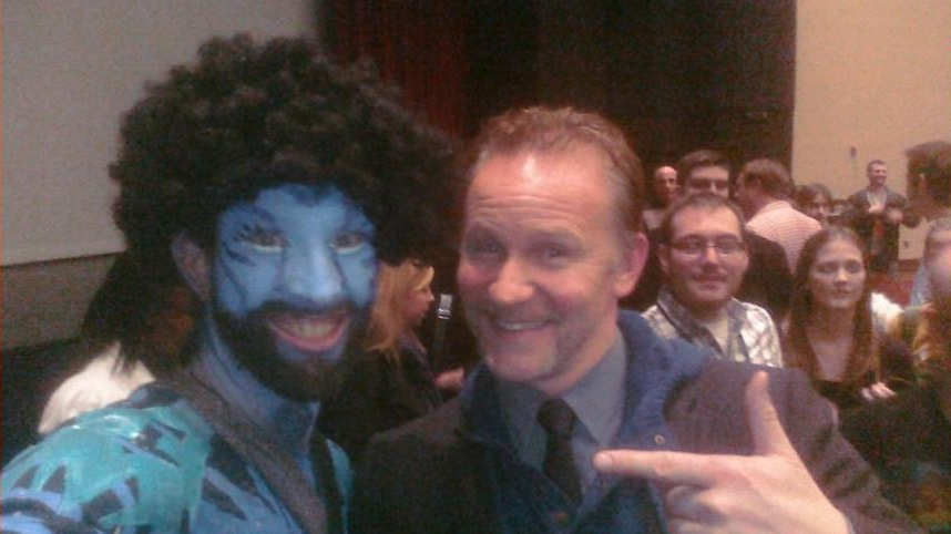 """Nick as an avatar and director of """"Super Size Me"""" Morgan Spurlock."""