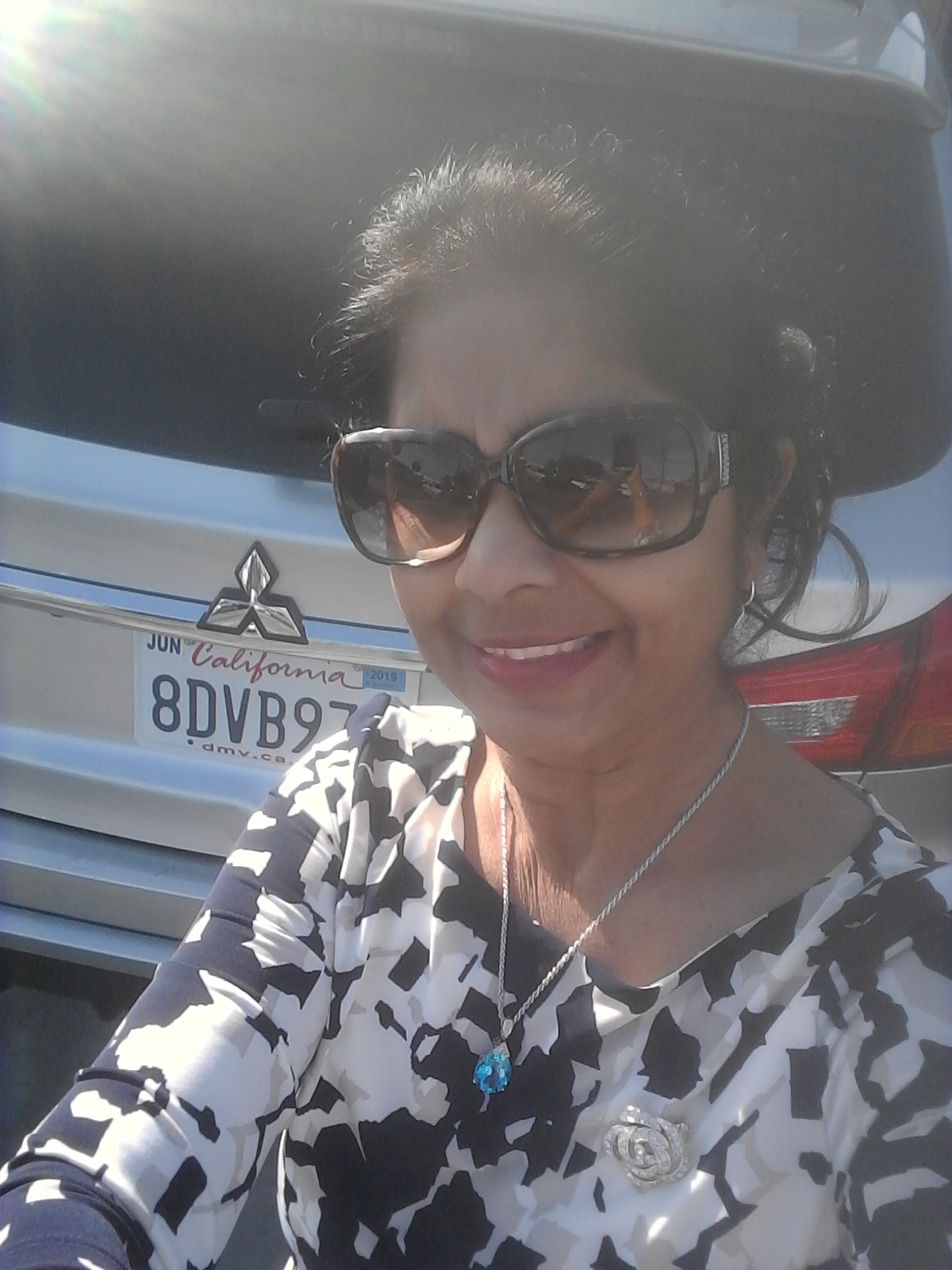 Selfie 11/17/2018 - on my way to a wedding at Pacific Palms Resort, Industry City, CA. Beautiful place with fabulous views. That's my rented car for the occasion.