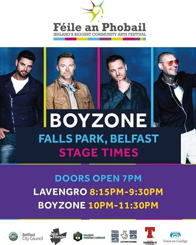 Stage Times for tomorrow night 👀 . . . . . . . . #belfast #boyzone #fallsparkbelfast #feile #belfast #concert #irishbands #irish #derry #Ireland #northernireland #music #irishmusic #festival #mainstage