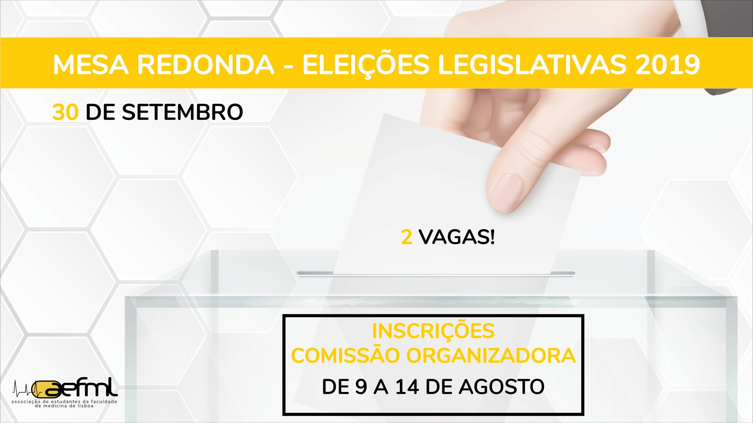 Comemorando os  105 anos de existência da AEFML , no  dia 30 de setembro  de 2019, a AEFML organizará uma  Mesa Redonda  sobre as Eleições Legislativas de 2019.  Para a mesma, gostaríamos muito de contar com a tua ajuda!  Candidata-te a esta nova Comissão Organizadora  até ao dia 14 de agosto  pelas  23h59 , preenchendo   este formulário  .  Qualquer dúvida ou questão, contacta o seguinte email -  politicaeducativa@aefml.pt