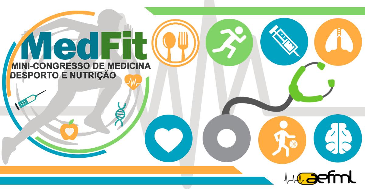"""MedFit   O MedFit é um mini-congresso, organizado pela Associação de Estudantes da Faculdade de Medicina de Lisboa, que surge no seguimento da Palestra """"Medicina e Desporto"""" e que versa sobre as temáticas da Medicina, Desporto e Nutrição. O principal objetivo desta atividade passa por investir na sensibilização e formação dos estudantes para estas áreas, às quais têm pouco acesso no decorrer da sua formação curricular."""