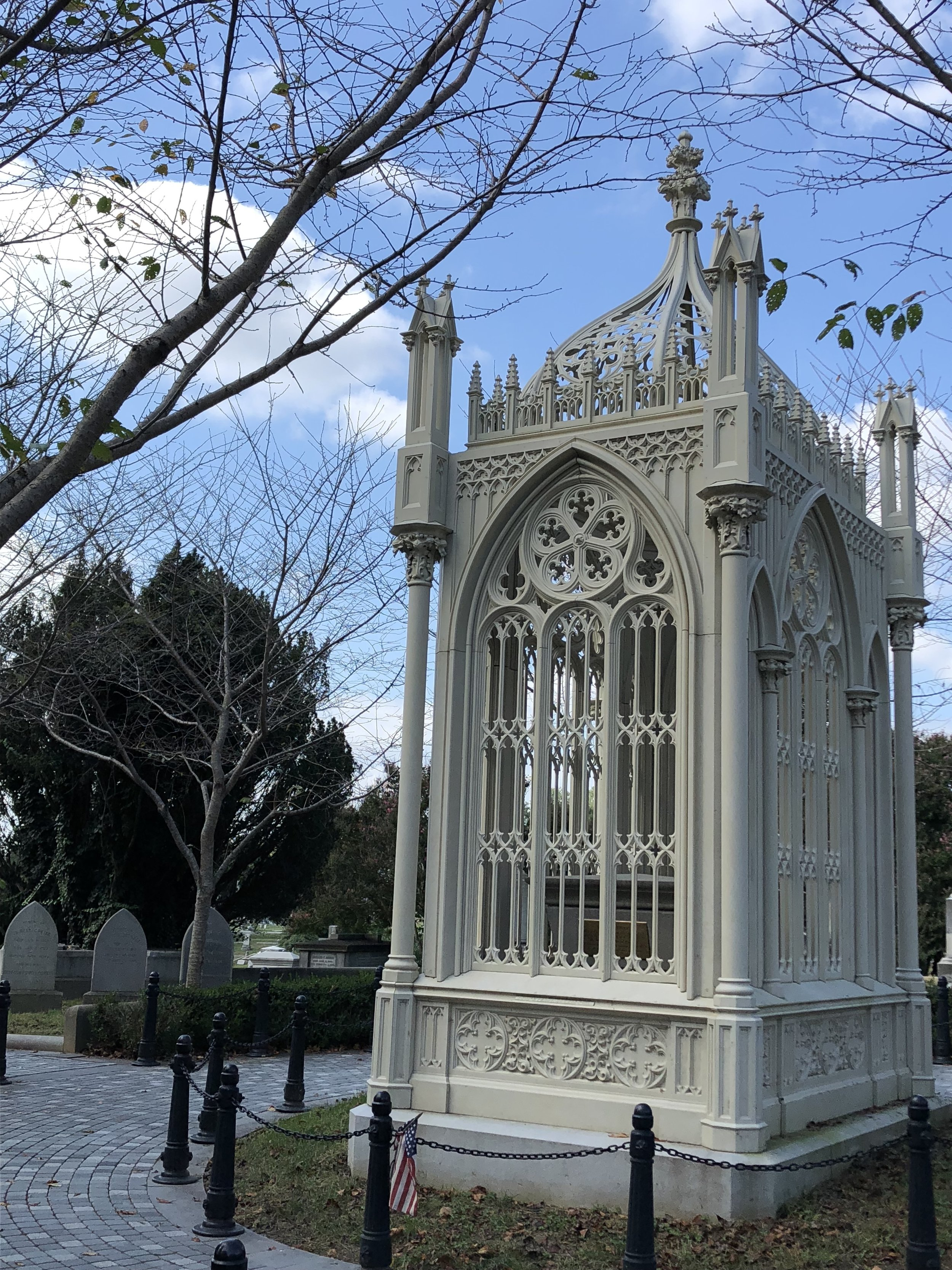 Somewhat to my surprise, James Monroe's tomb was just a few steps away from Tyler's in Hollywood Cemetery. Jefferson Davis is also buried in the same cemetery. Not shown here is Elizabeth Monroe's modest plot at the side of President Monroe's impressive structure. Not sure how that's going over in the afterlife.