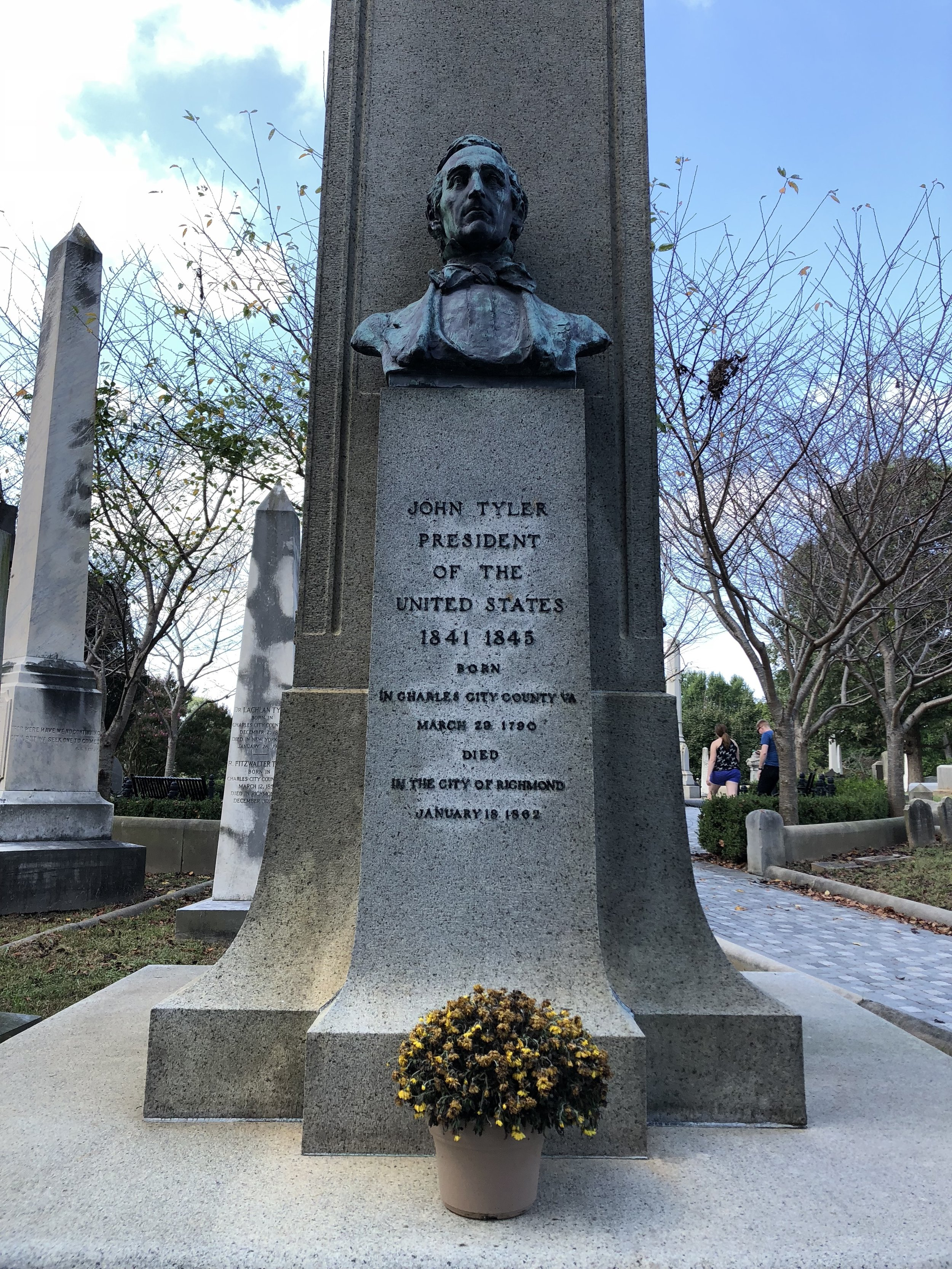 John Tyler's gravesite in Hollywood Cemetery in Richmond.