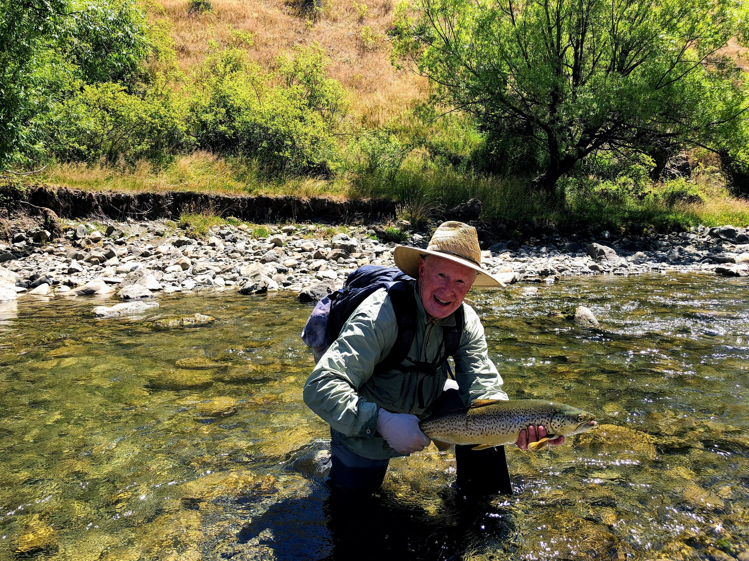 My mere 24 inch brown. Check out the water clarity. Don't let recent events scare you off, New Zealand is a treasure. Serge Bonnafoux is the go to guide in New Zealand.