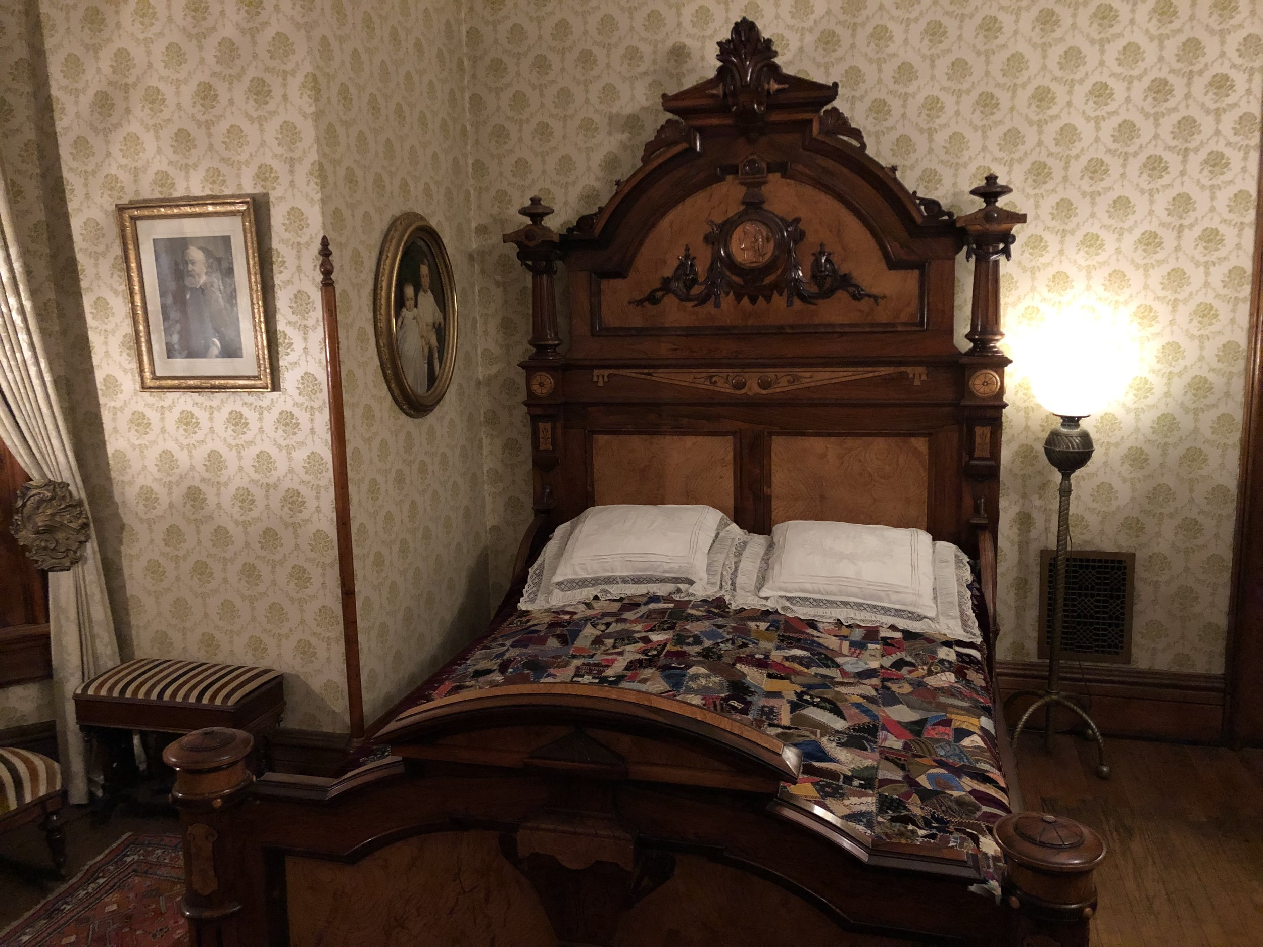 "Harrison's home is another hidden treasure. The majority of the items in the house belonged to the Harrison family. This is the bed where both he and his first wife Caroline died. The guide said that Caroline died while Harrison was running for reelection in 1892. After she died, he suspended his campaign. Remarkably, his opponent Grover Cleveland suspended his campaign as well to show his respect for the First Lady. One of those ""oh for the good old days"" moments."
