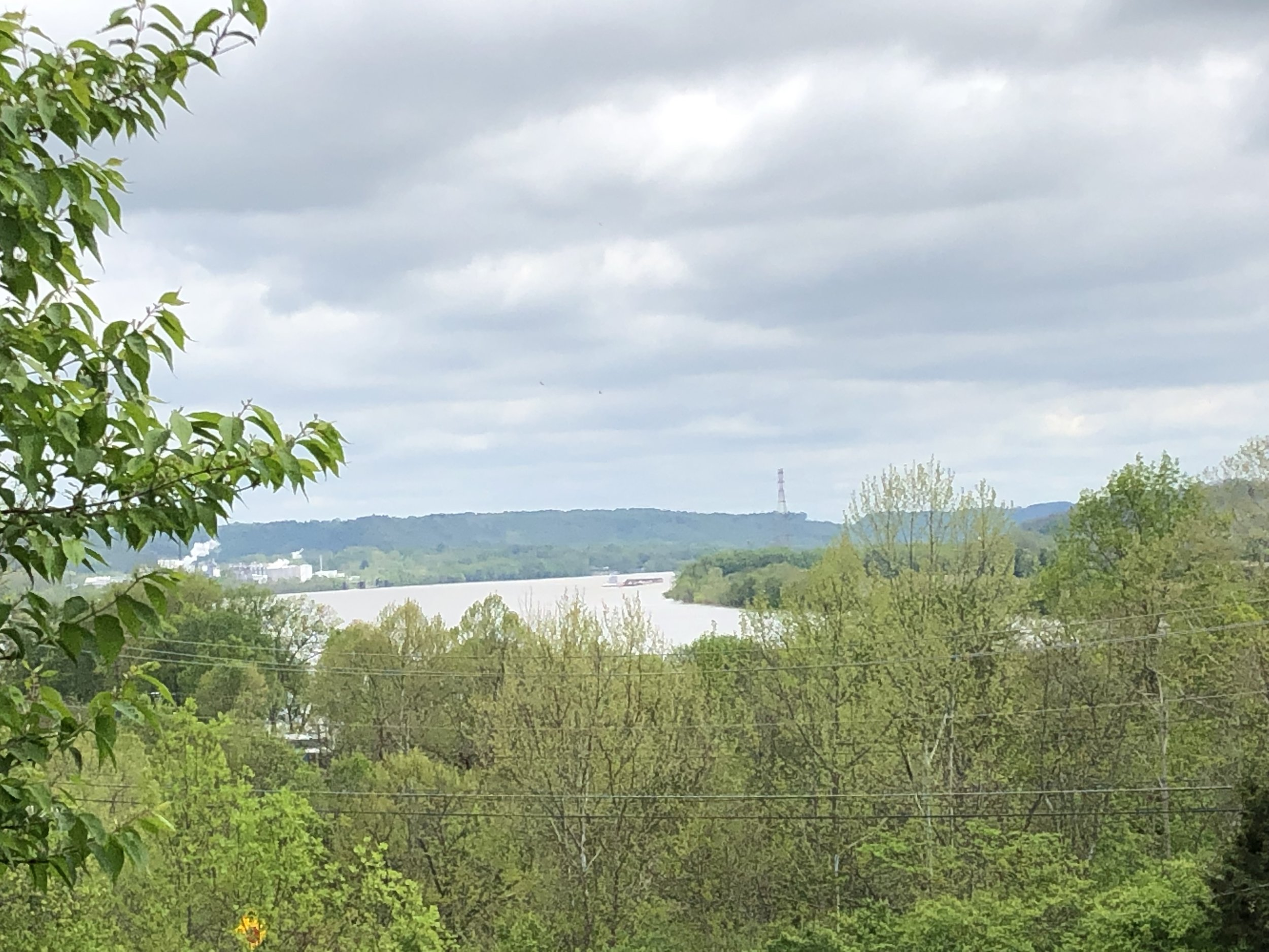 The view from Harrison's tomb. This is standing in Ohio looking across the river at Kentucky. It reminded me of Alexis de Tocqueville's vivid description of the stark contrast between free Ohio and slaveholding Kentucky during the 1840s. The passage is quoted in Part IV, Chapter 1 of  A Presidents Story . Read it again—I think it's one of the best arguments ever against slavery.