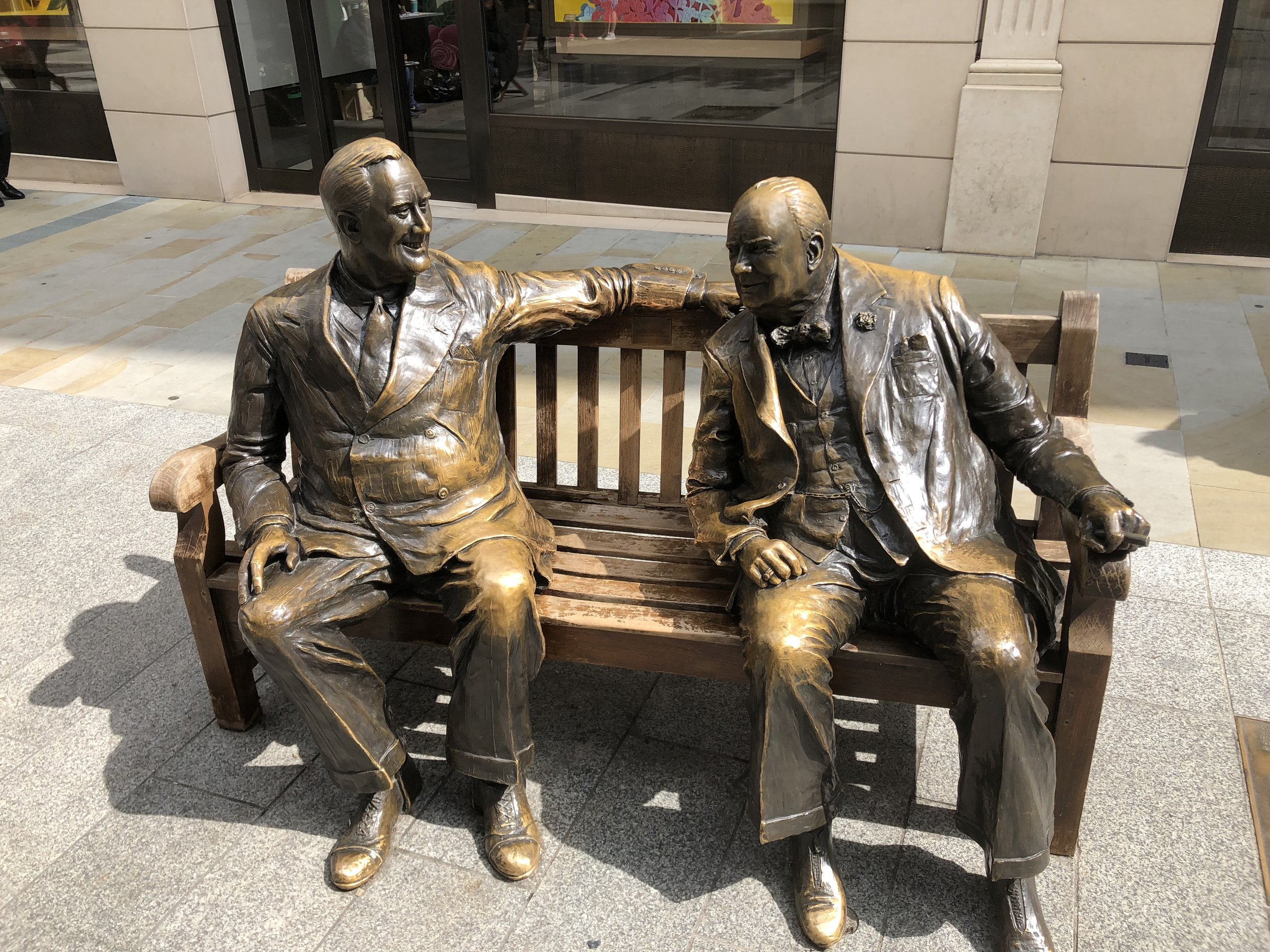 FDR and Churchill sharing a laugh in Central London.