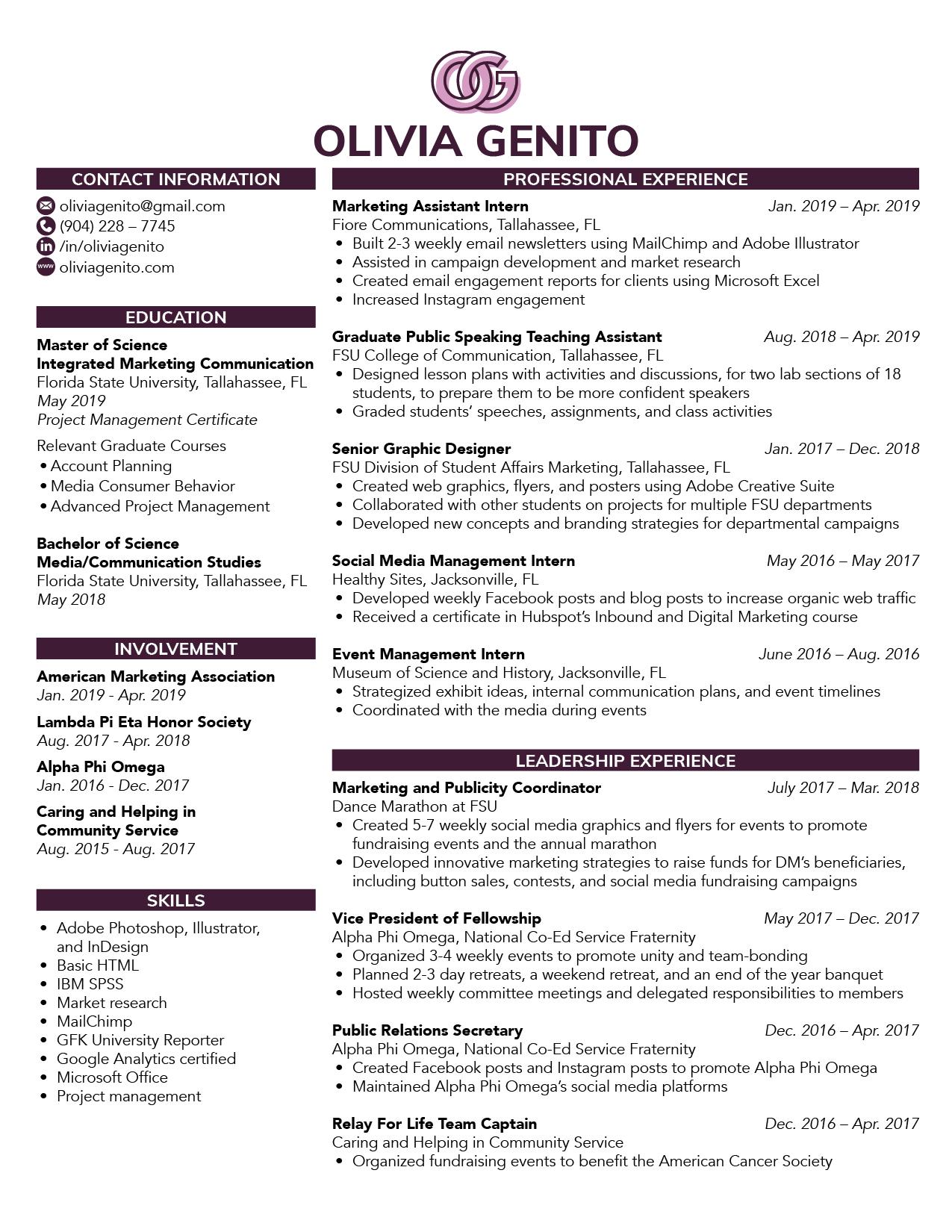 Resume — OLIVIA GENITO
