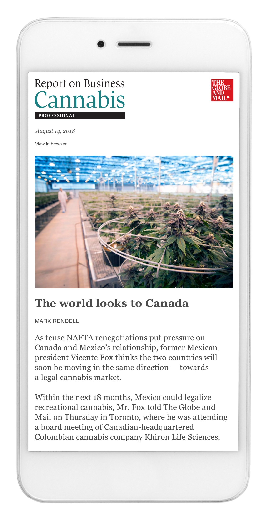 Report on Business Cannabis Professional sample newsletter screen