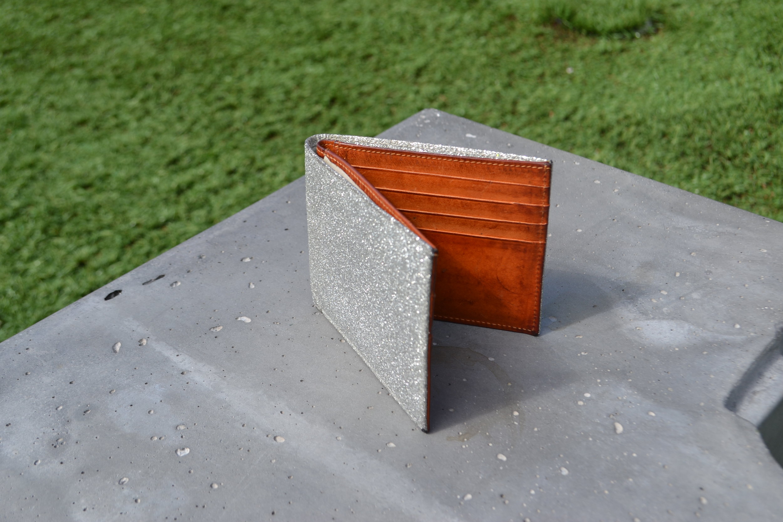 FEATURED: Maison Martin Margiela distressed glitter coated leather bi-fold wallet