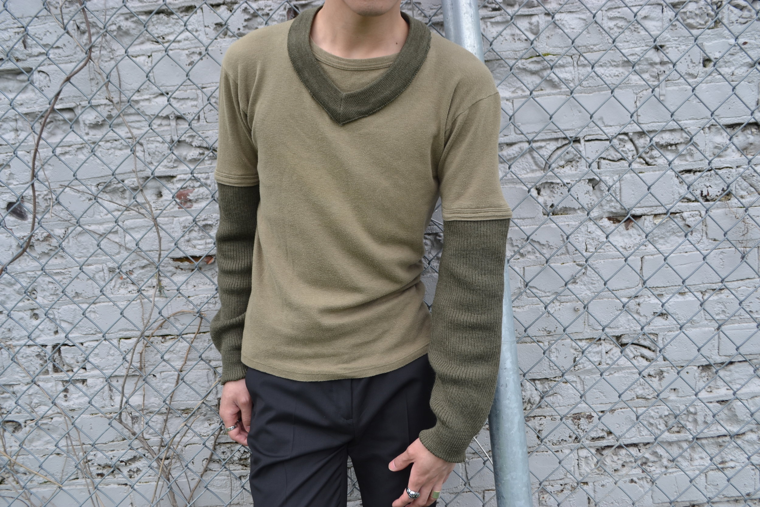 FEATURED: Maison Martin Margiela Cotton T-Shirt with Military Sweater Patchwork (SS03)