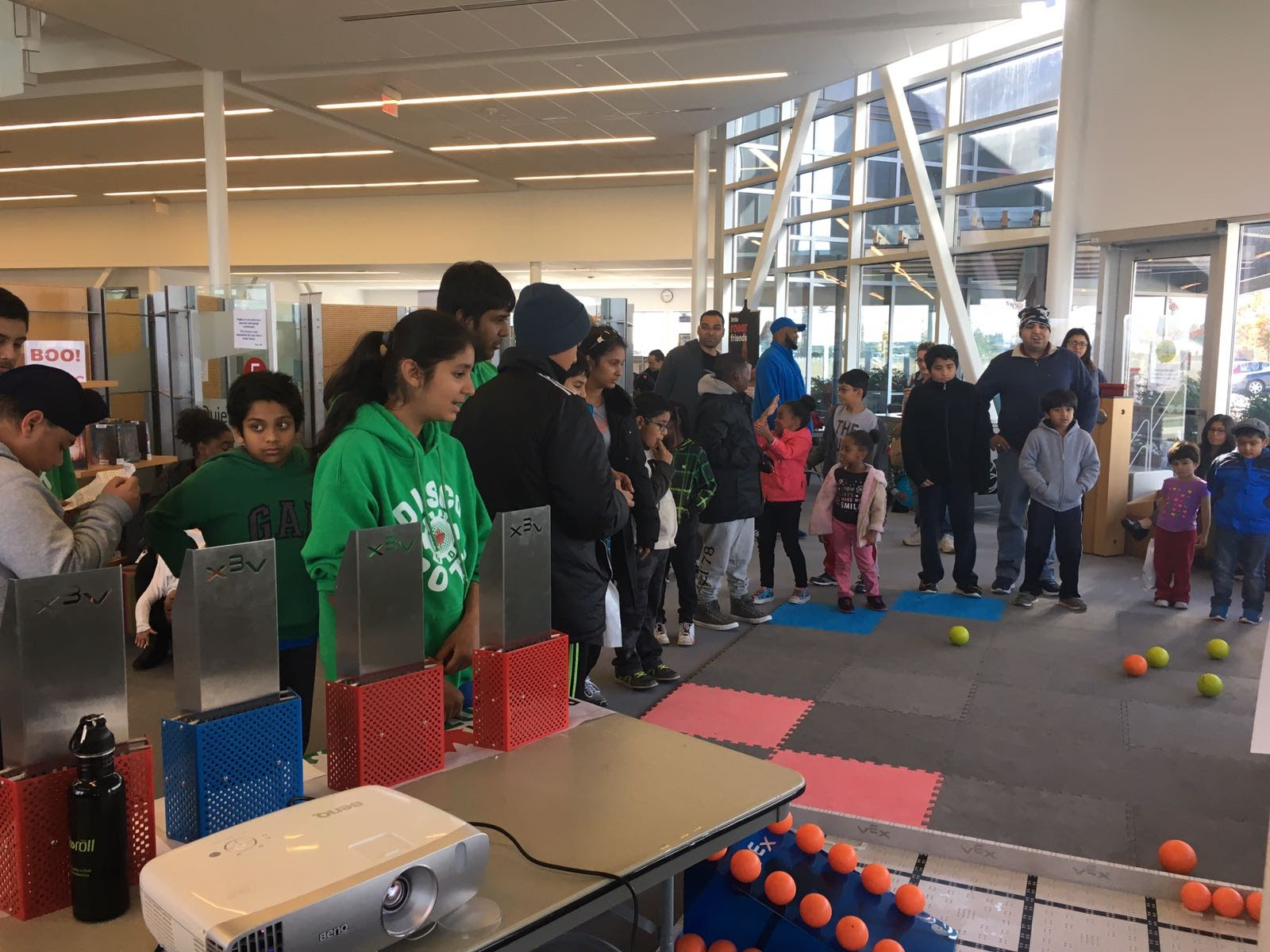 Our Team having a build session with kids from our community, to promote STEM