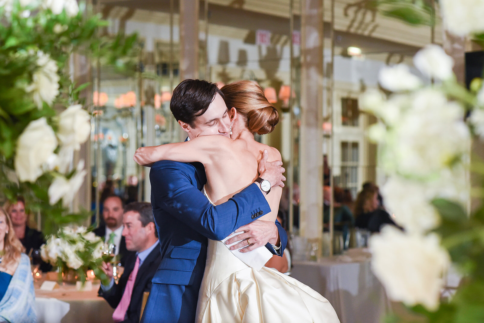 The groom's speech was perfect, as evidenced by the sweet hug the couple shared afterwards.