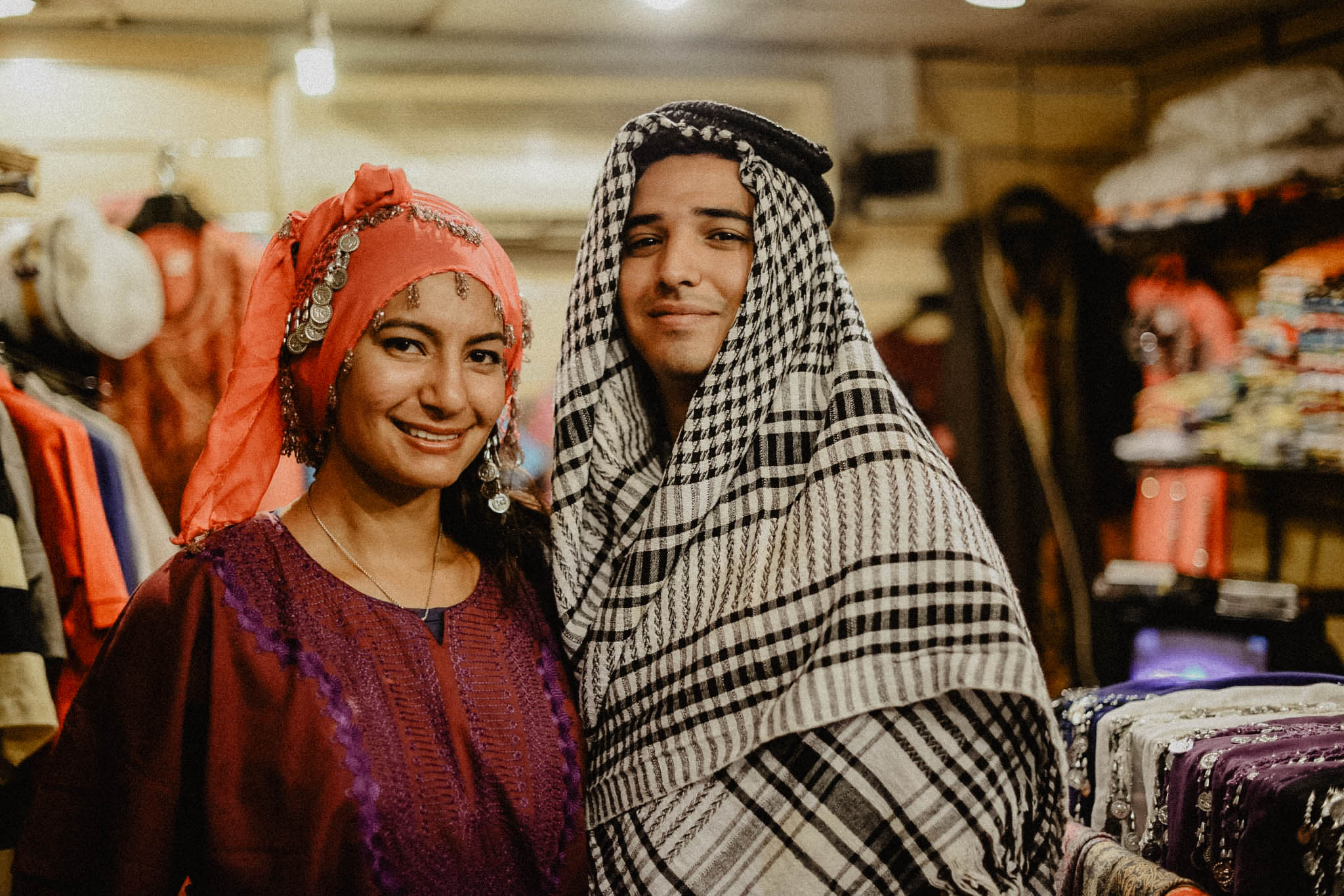 Nile River Cruise: - In this picture we are trying out some traditional Egyptian clothing in preparation for our nile cruise.  We didn't end up going with these exact outfits but it was fun trying them on lol If you want to have a nice dinner and a show while cruising the nile, go for it but to be honest we were so jet lagged that it was hard to enjoy.  It was memorable though.